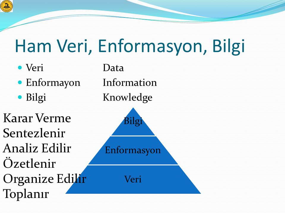 Ham Veri, Enformasyon, Bilgi