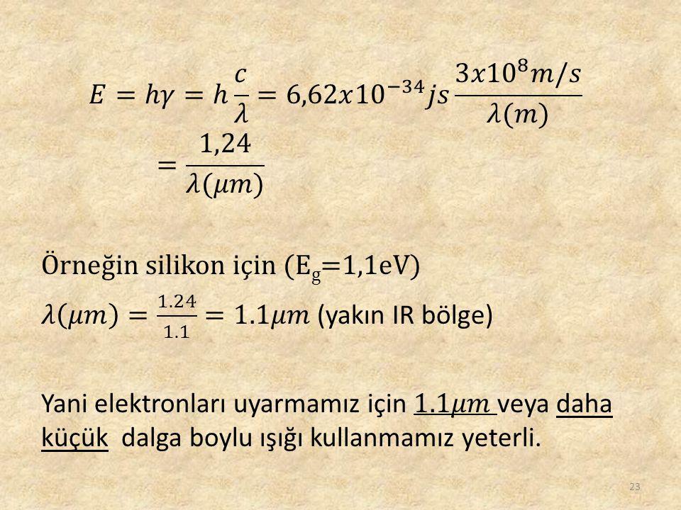 𝐸=ℎ𝛾=ℎ 𝑐 𝜆 =6,62𝑥 10 −34 𝑗𝑠 3 𝑥10 8 𝑚/𝑠 𝜆(𝑚) = 1,24 𝜆(𝜇𝑚) Örneğin silikon için (Eg=1,1eV) 𝜆 𝜇𝑚 = 1.24 1.1 =1.1𝜇𝑚 (yakın IR bölge) Yani elektronları uyarmamız için 1.1𝜇𝑚 veya daha küçük dalga boylu ışığı kullanmamız yeterli.