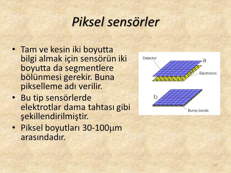 Piksel sensörler Tam ve kesin iki boyutta bilgi almak için sensörün iki boyutta da segmentlere bölünmesi gerekir. Buna pikselleme adı verilir.