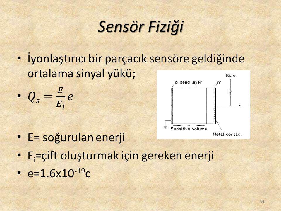 Sensör Fiziği İyonlaştırıcı bir parçacık sensöre geldiğinde ortalama sinyal yükü; 𝑄𝑠= 𝐸 𝐸 𝑖 𝑒. E= soğurulan enerji.