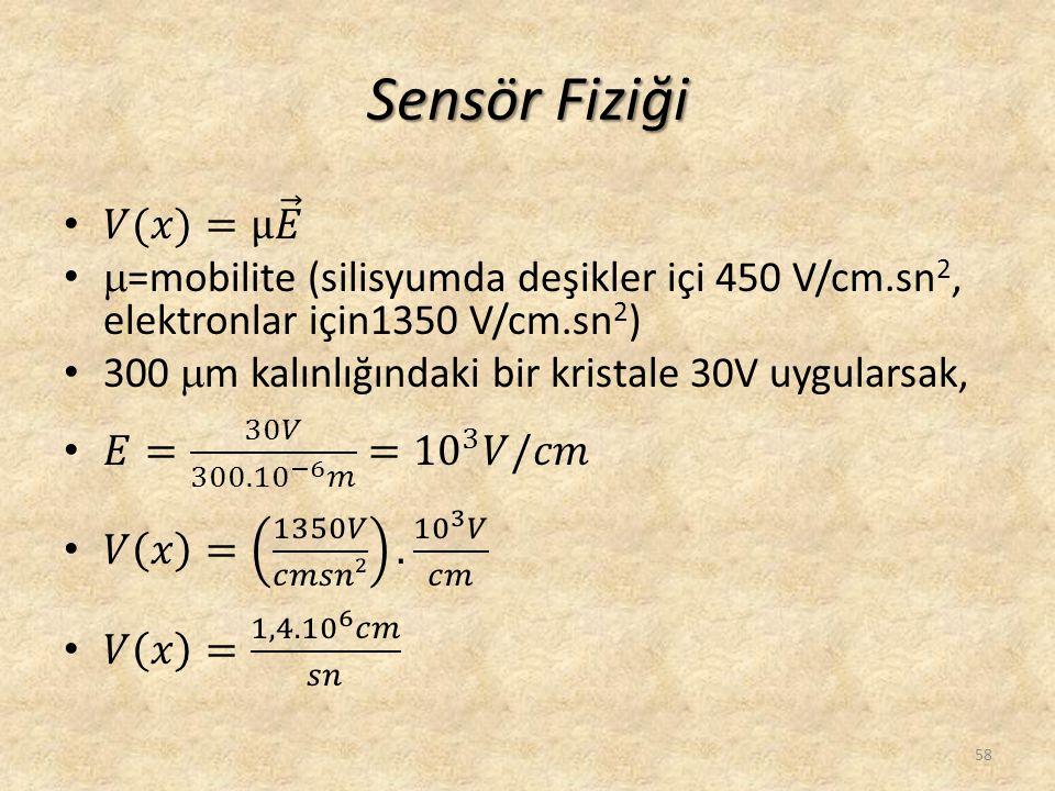 Sensör Fiziği 𝑉(𝑥)=μ 𝐸. =mobilite (silisyumda deşikler içi 450 V/cm.sn2, elektronlar için1350 V/cm.sn2)