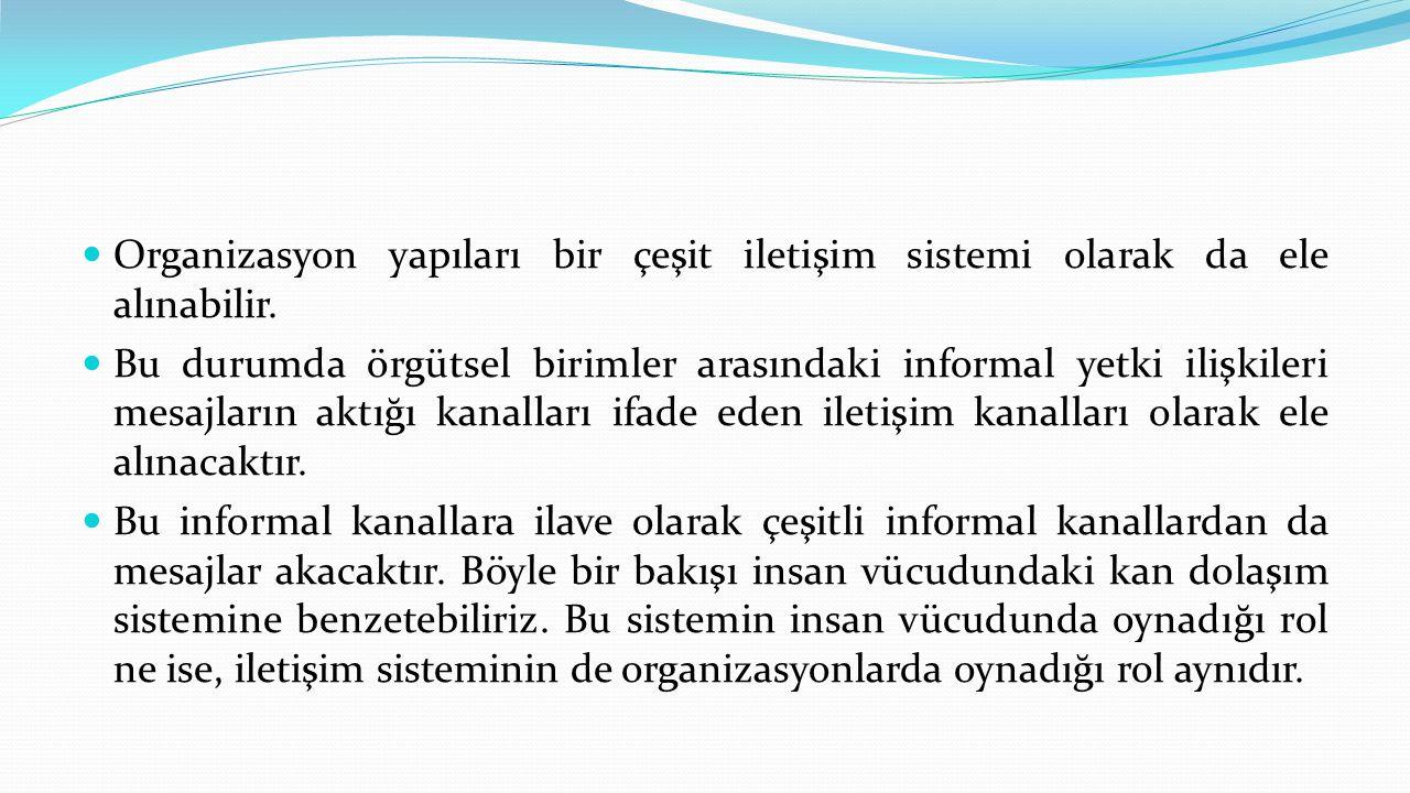 Organizasyon yapıları bir çeşit iletişim sistemi olarak da ele alınabilir.
