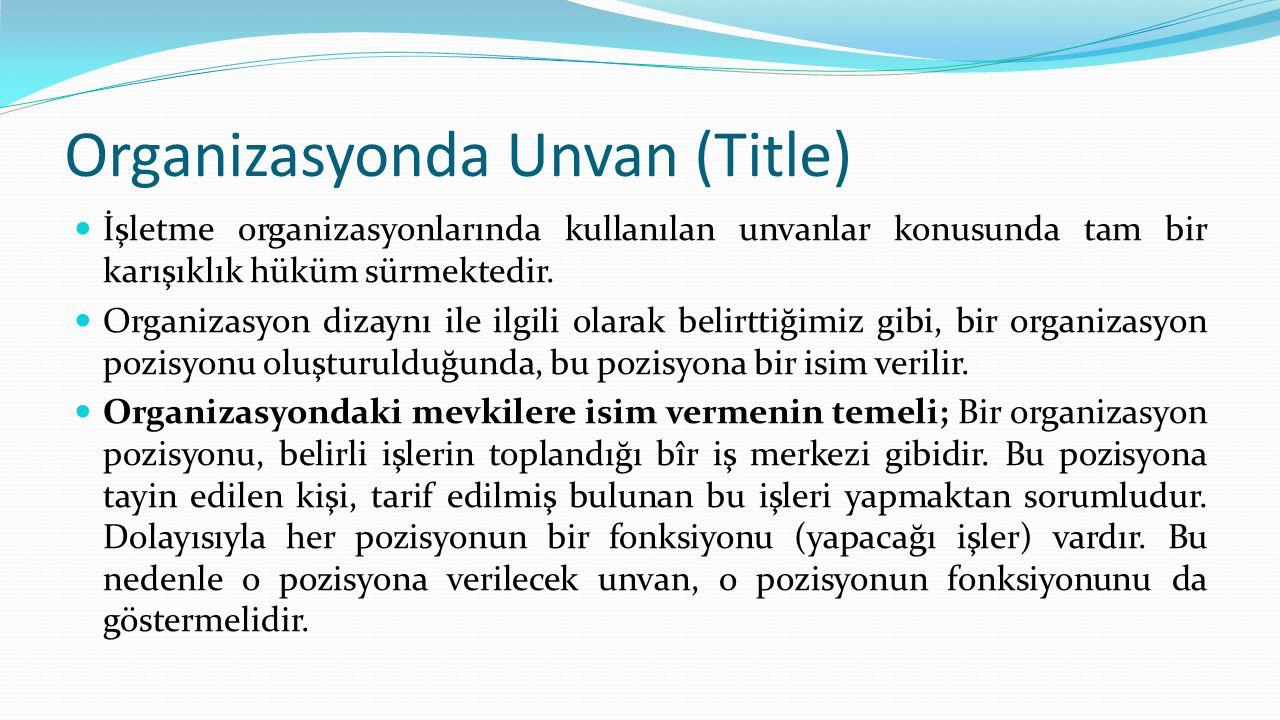 Organizasyonda Unvan (Title)