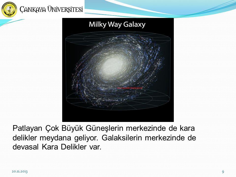 Patlayan Çok Büyük Güneşlerin merkezinde de kara delikler meydana geliyor. Galaksilerin merkezinde de devasal Kara Delikler var.