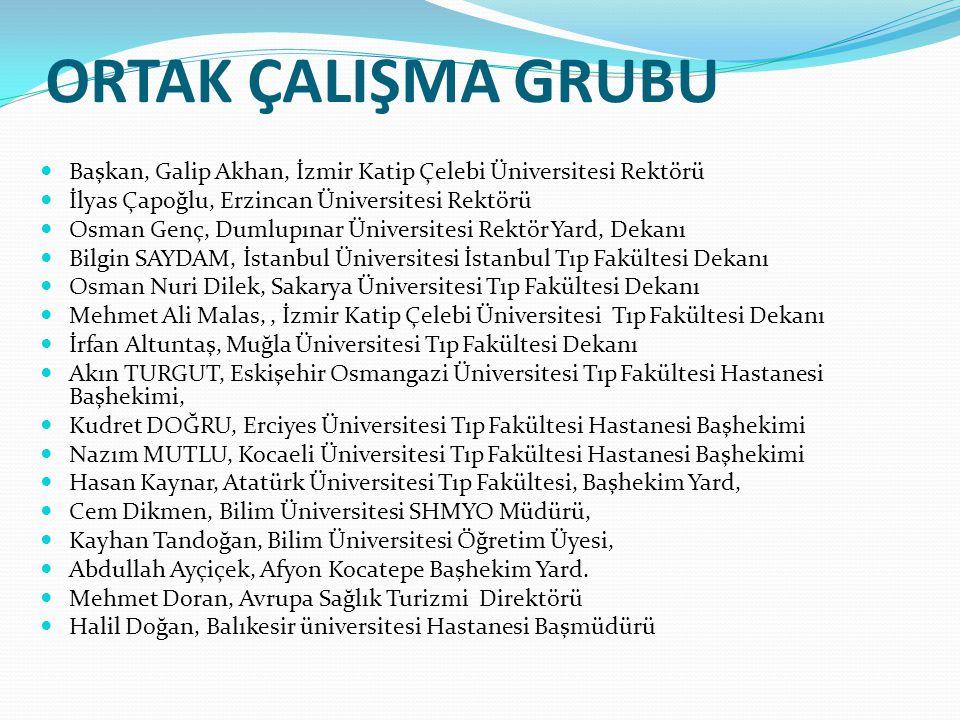 ORTAK ÇALIŞMA GRUBU Başkan, Galip Akhan, İzmir Katip Çelebi Üniversitesi Rektörü. İlyas Çapoğlu, Erzincan Üniversitesi Rektörü.