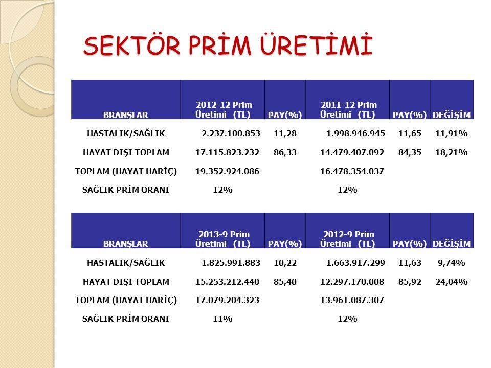 SEKTÖR PRİM ÜRETİMİ BRANŞLAR 2012-12 Prim Üretimi (TL) PAY(%)