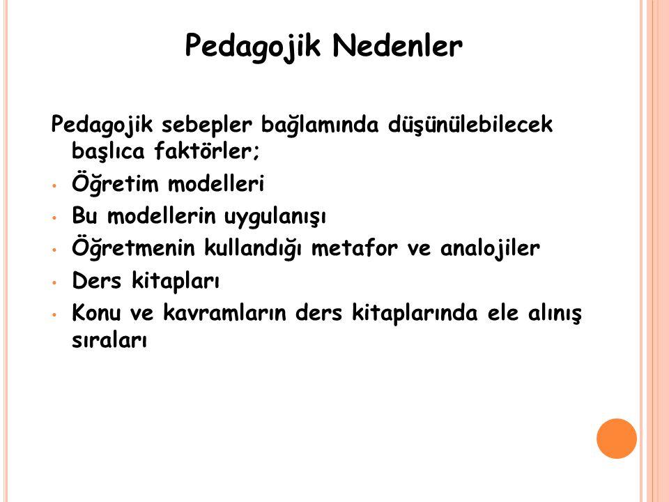 Pedagojik Nedenler Pedagojik sebepler bağlamında düşünülebilecek başlıca faktörler; Öğretim modelleri.