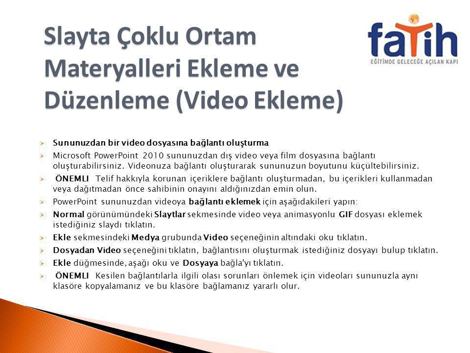 Slayta Çoklu Ortam Materyalleri Ekleme ve Düzenleme (Video Ekleme)