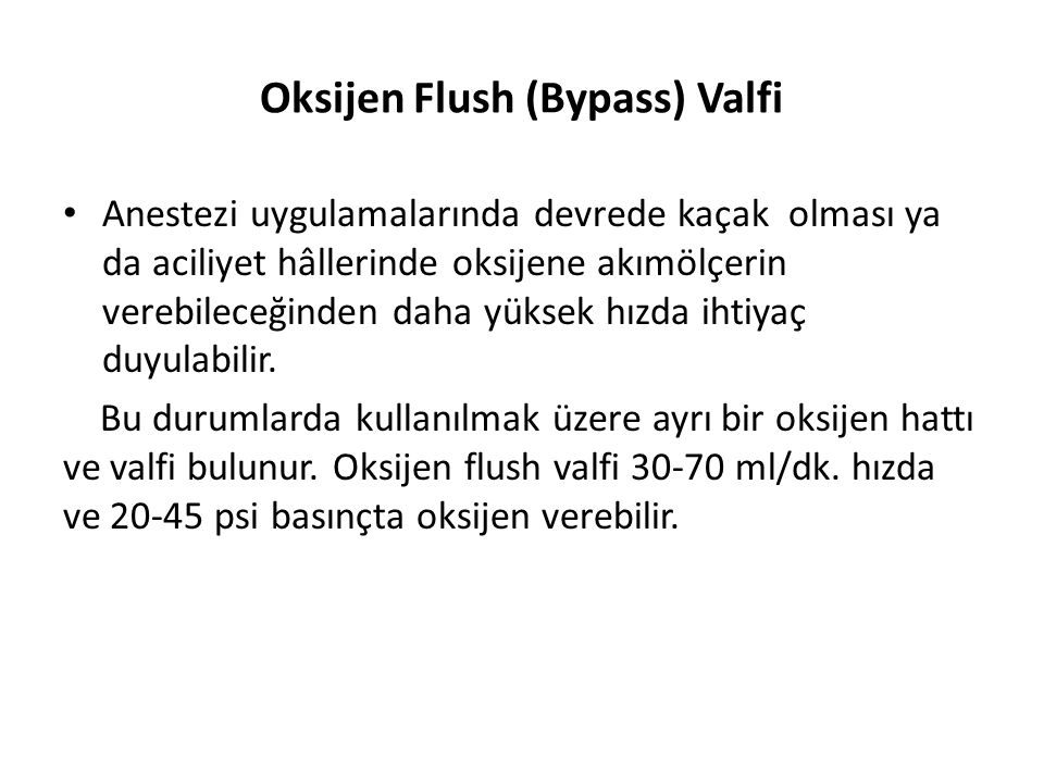 Oksijen Flush (Bypass) Valfi
