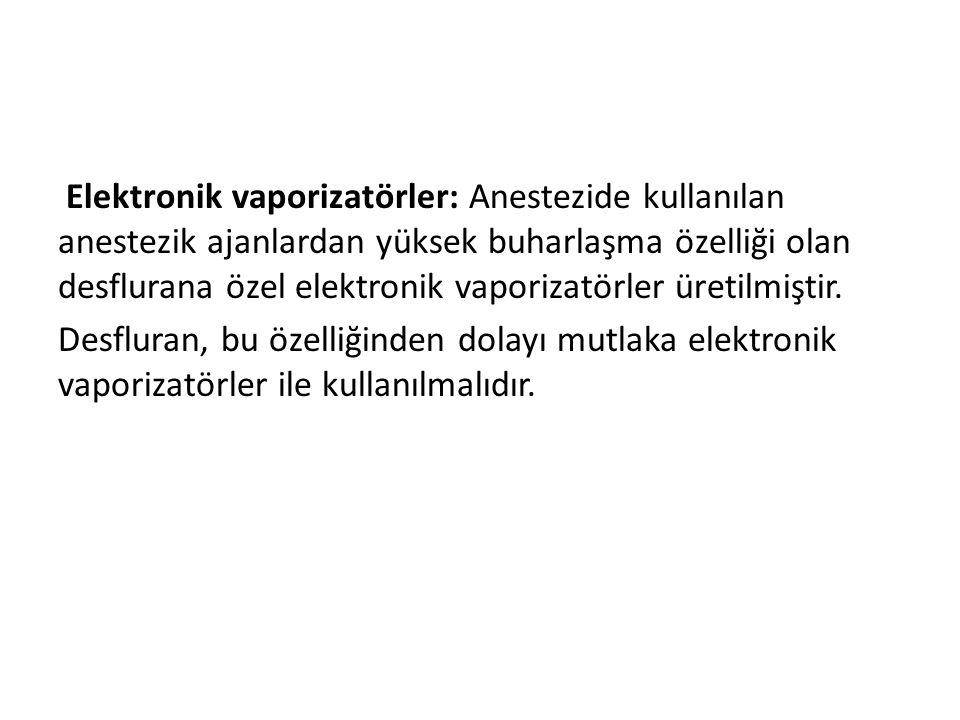 Elektronik vaporizatörler: Anestezide kullanılan anestezik ajanlardan yüksek buharlaşma özelliği olan desflurana özel elektronik vaporizatörler üretilmiştir.