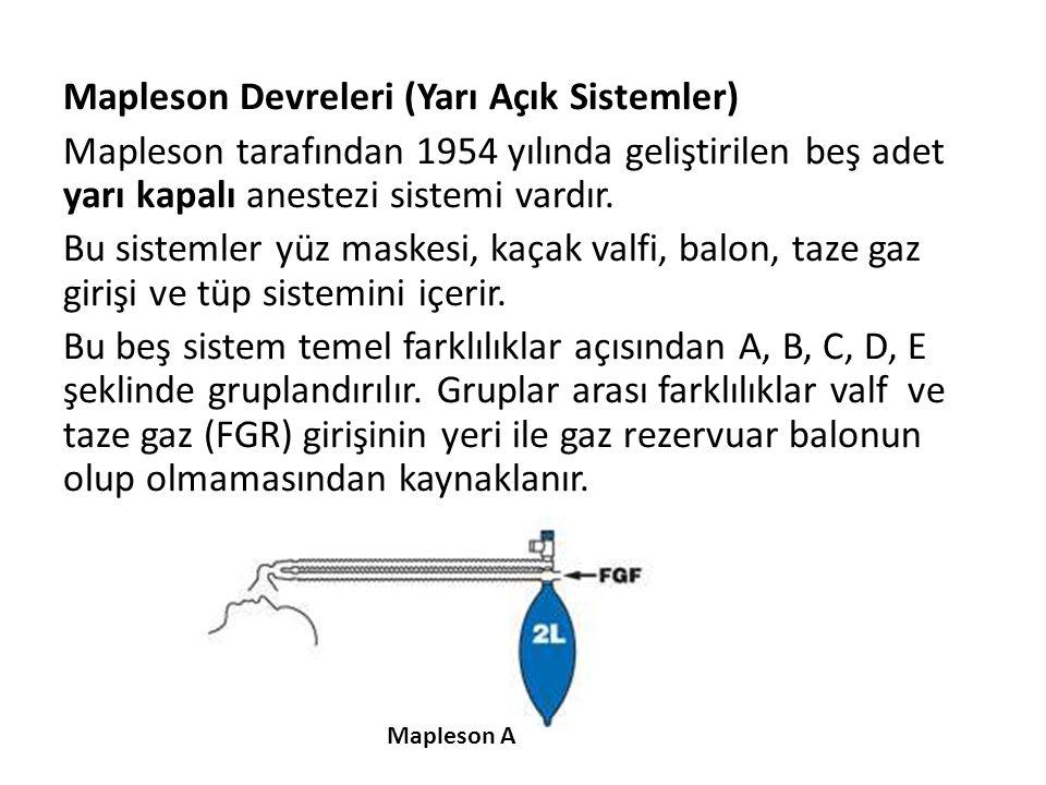 Mapleson Devreleri (Yarı Açık Sistemler)