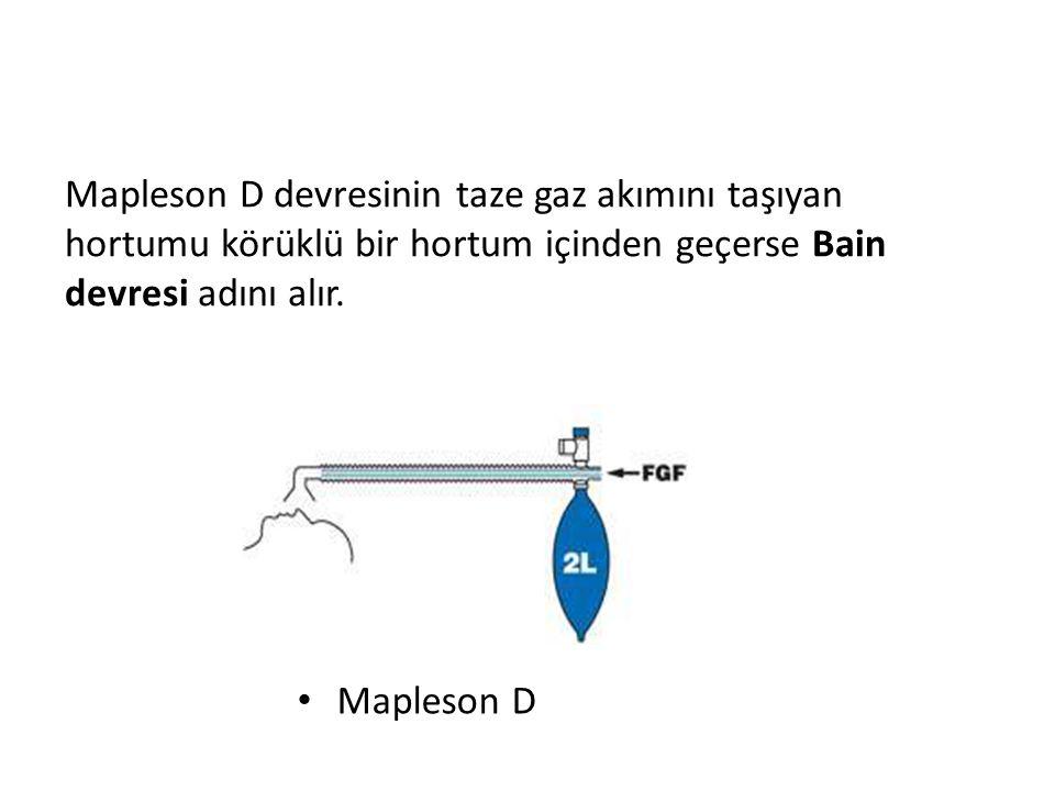 Mapleson D devresinin taze gaz akımını taşıyan hortumu körüklü bir hortum içinden geçerse Bain devresi adını alır.