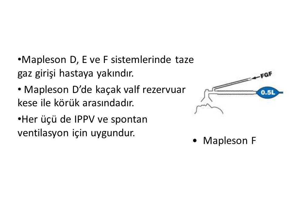 Mapleson D, E ve F sistemlerinde taze gaz girişi hastaya yakındır.