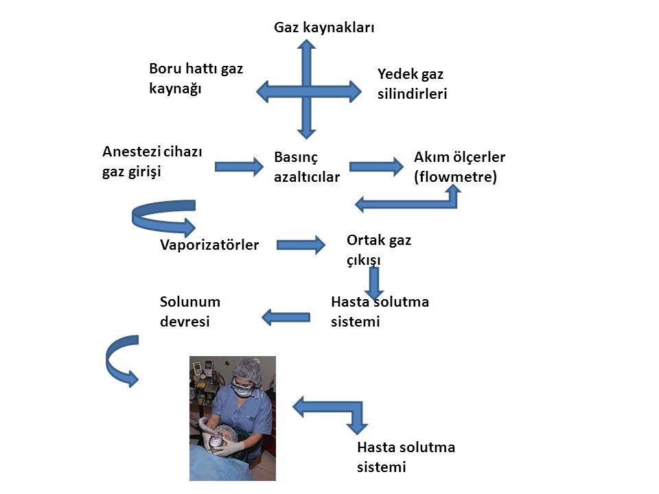 Gaz kaynakları Boru hattı gaz kaynağı. Yedek gaz silindirleri. Anestezi cihazı gaz girişi. Basınç azaltıcılar.