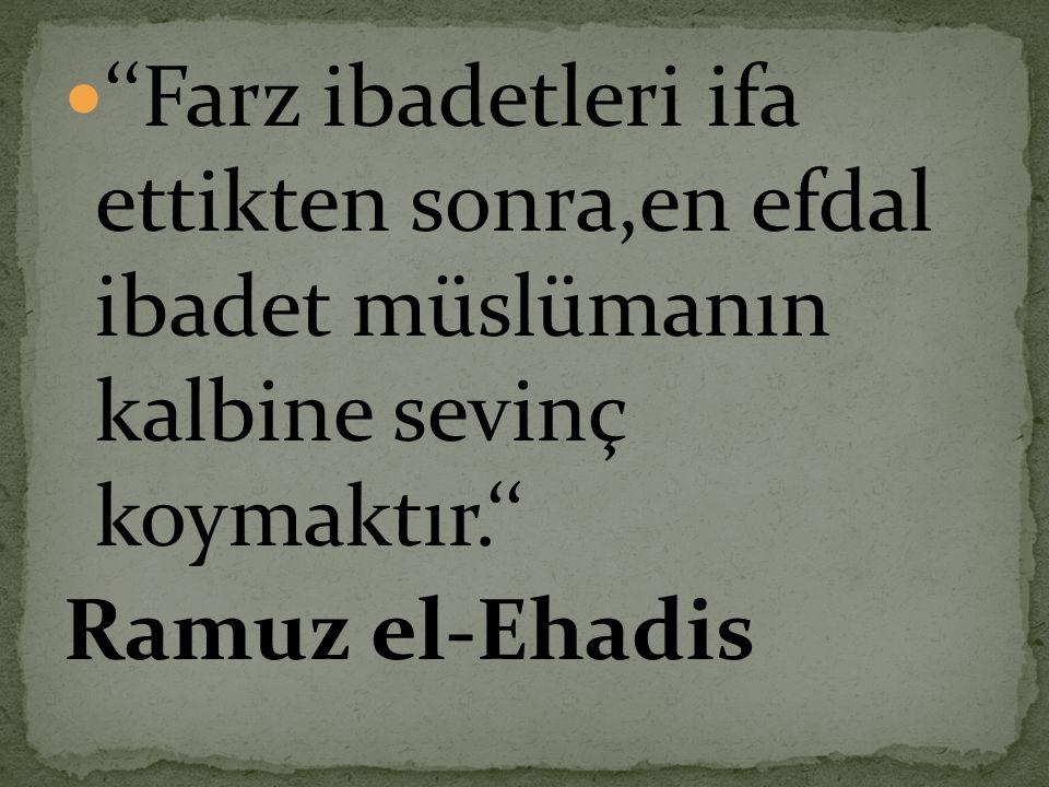 ''Farz ibadetleri ifa ettikten sonra,en efdal ibadet müslümanın kalbine sevinç koymaktır.''