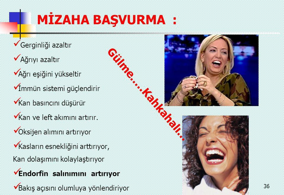 MİZAHA BAŞVURMA : Gülme.....Kahkahalı... Gerginliği azaltır
