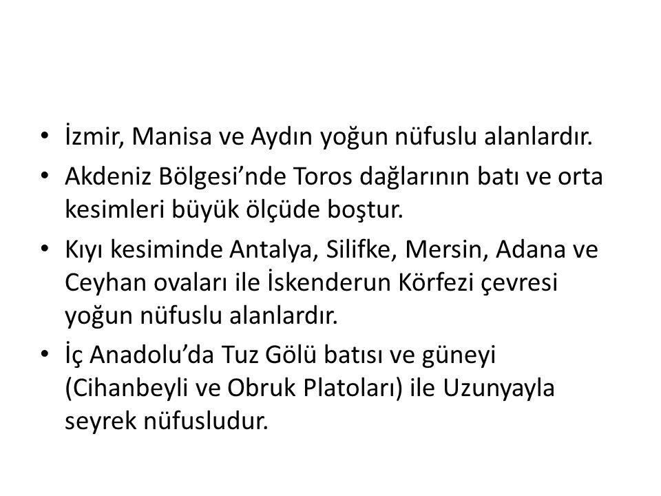 İzmir, Manisa ve Aydın yoğun nüfuslu alanlardır.