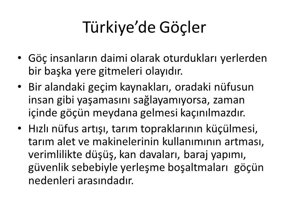 Türkiye'de Göçler Göç insanların daimi olarak oturdukları yerlerden bir başka yere gitmeleri olayıdır.