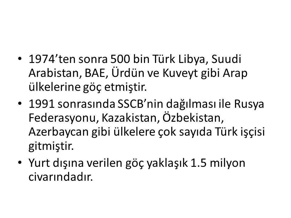 1974'ten sonra 500 bin Türk Libya, Suudi Arabistan, BAE, Ürdün ve Kuveyt gibi Arap ülkelerine göç etmiştir.