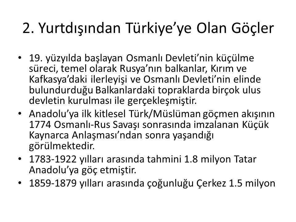 2. Yurtdışından Türkiye'ye Olan Göçler