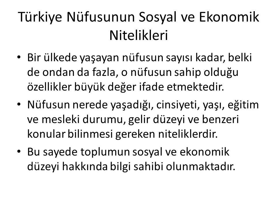 Türkiye Nüfusunun Sosyal ve Ekonomik Nitelikleri