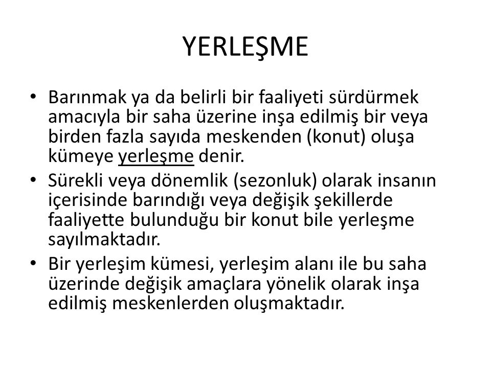YERLEŞME