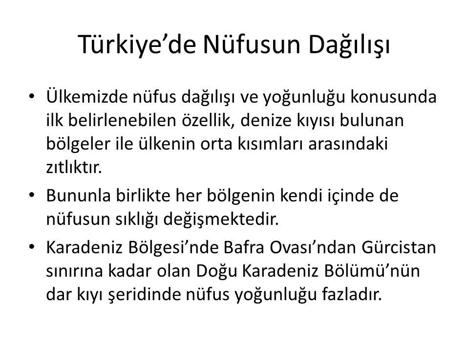 Türkiye'de Nüfusun Dağılışı