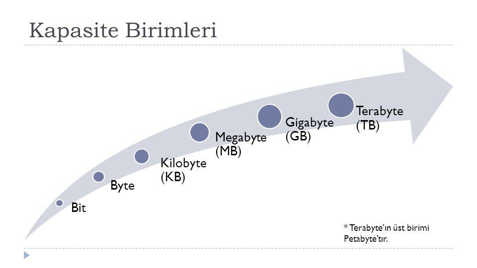 Kapasite Birimleri Terabyte (TB)