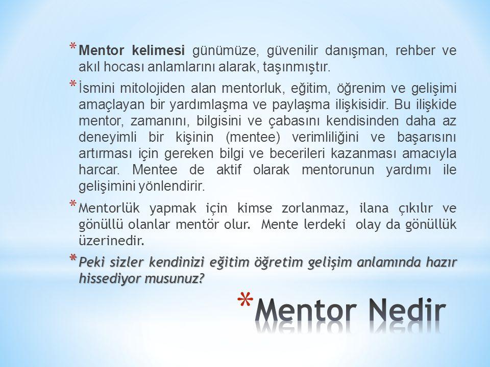 Mentor kelimesi günümüze, güvenilir danışman, rehber ve akıl hocası anlamlarını alarak, taşınmıştır.