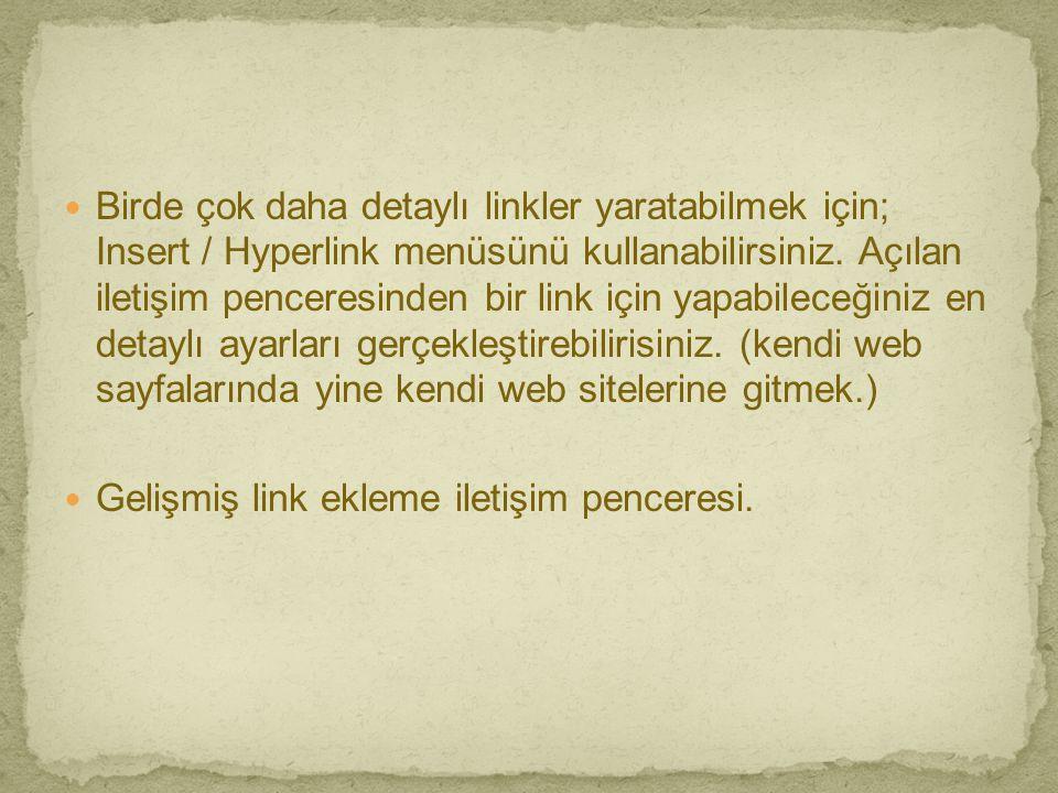 Birde çok daha detaylı linkler yaratabilmek için; Insert / Hyperlink menüsünü kullanabilirsiniz. Açılan iletişim penceresinden bir link için yapabileceğiniz en detaylı ayarları gerçekleştirebilirisiniz. (kendi web sayfalarında yine kendi web sitelerine gitmek.)