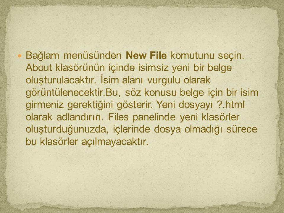 Bağlam menüsünden New File komutunu seçin