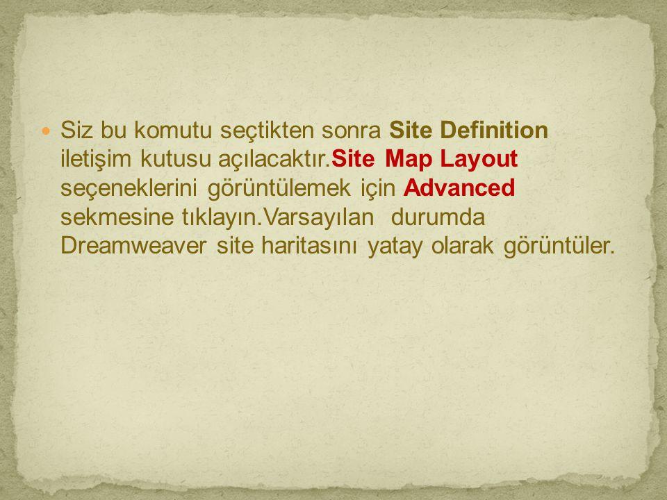 Siz bu komutu seçtikten sonra Site Definition iletişim kutusu açılacaktır.Site Map Layout seçeneklerini görüntülemek için Advanced sekmesine tıklayın.Varsayılan durumda Dreamweaver site haritasını yatay olarak görüntüler.