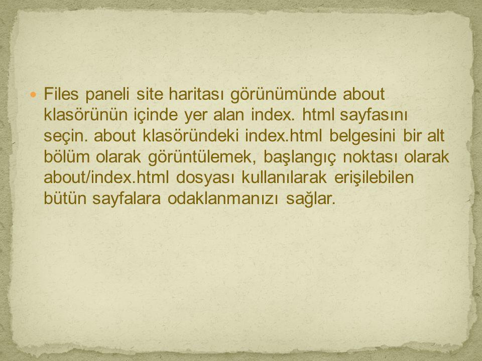 Files paneli site haritası görünümünde about klasörünün içinde yer alan index.