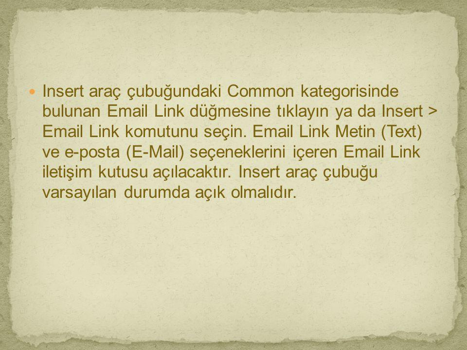 Insert araç çubuğundaki Common kategorisinde bulunan Email Link düğmesine tıklayın ya da Insert > Email Link komutunu seçin.