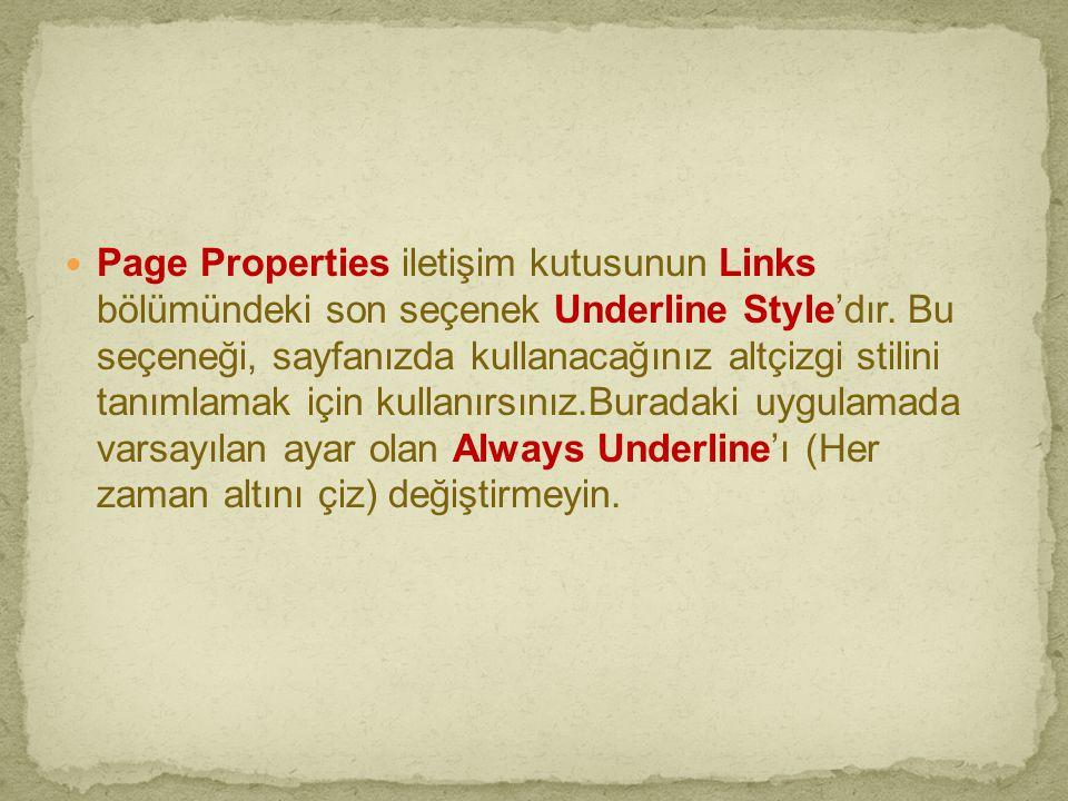 Page Properties iletişim kutusunun Links bölümündeki son seçenek Underline Style'dır.