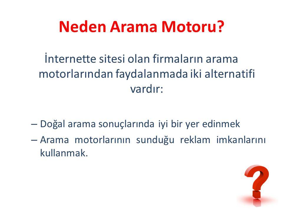 Neden Arama Motoru İnternette sitesi olan firmaların arama motorlarından faydalanmada iki alternatifi vardır: