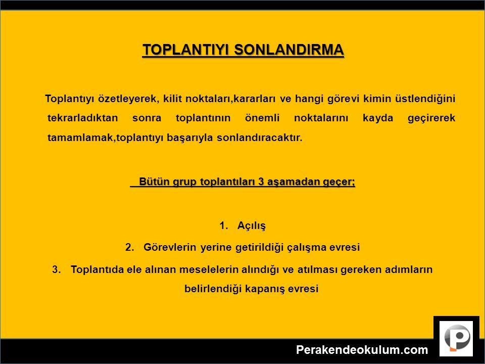 TOPLANTIYI SONLANDIRMA