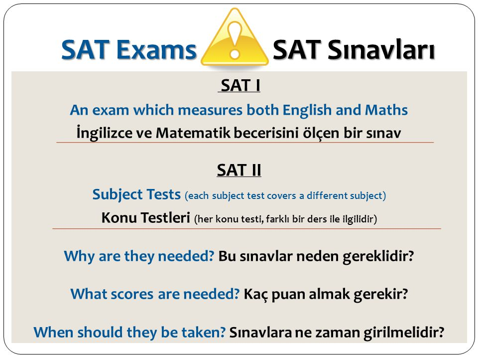 SAT Exams SAT Sınavları