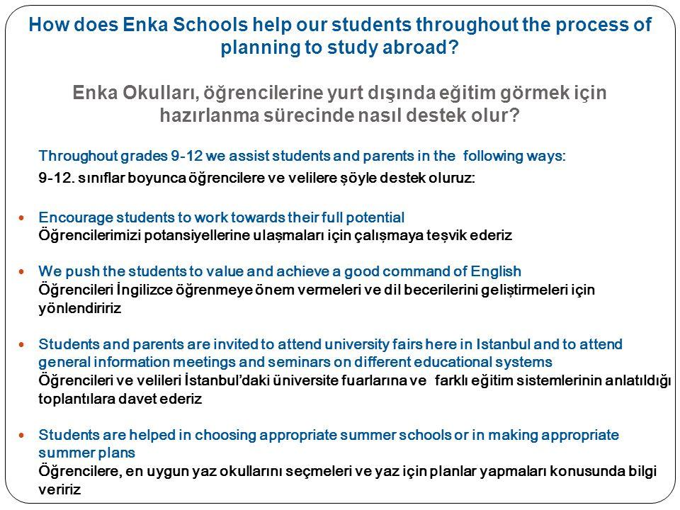 How does Enka Schools help our students throughout the process of planning to study abroad Enka Okulları, öğrencilerine yurt dışında eğitim görmek için hazırlanma sürecinde nasıl destek olur