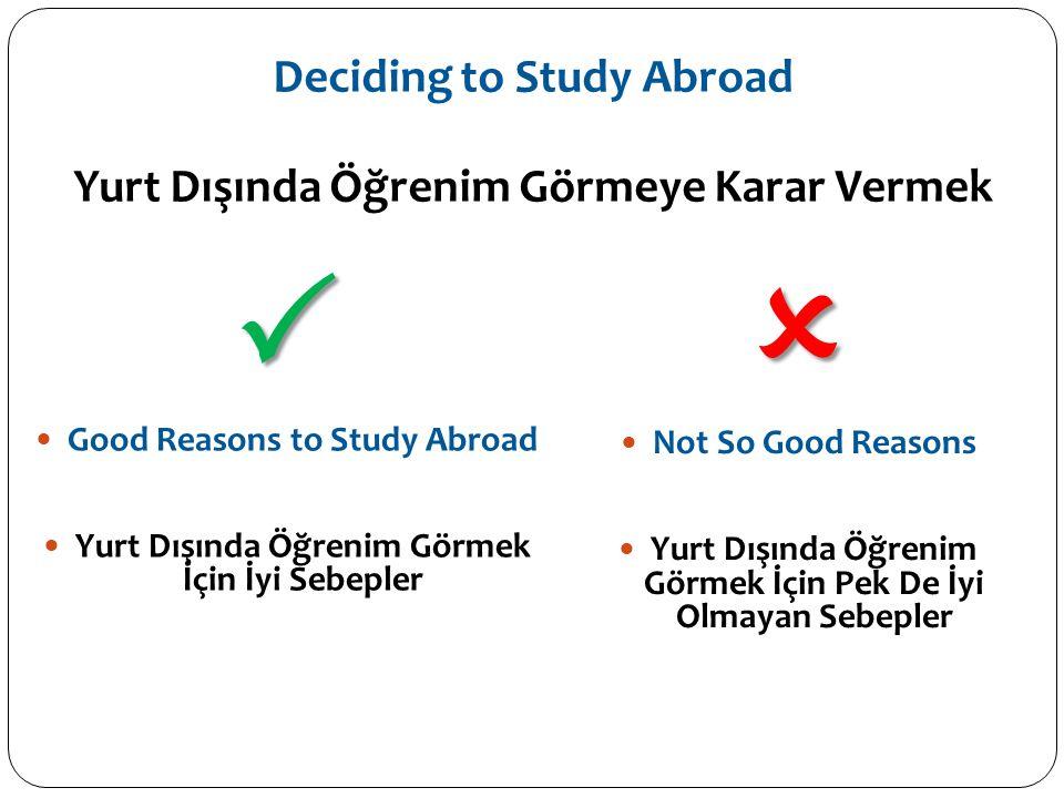 Deciding to Study Abroad Yurt Dışında Öğrenim Görmeye Karar Vermek