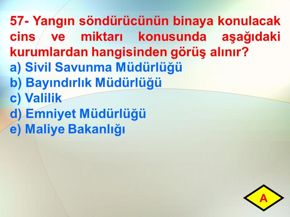 a) Sivil Savunma Müdürlüğü b) Bayındırlık Müdürlüğü c) Valilik