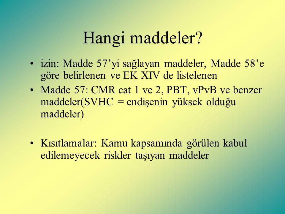 Hangi maddeler izin: Madde 57'yi sağlayan maddeler, Madde 58'e göre belirlenen ve EK XIV de listelenen.