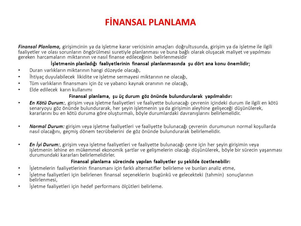 Finansal planlama, şu üç durum göz önünde bulundurularak yapılmalıdır: