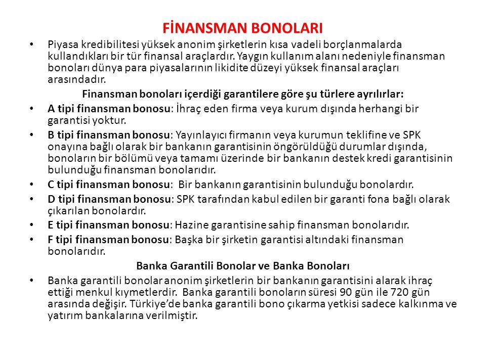 FİNANSMAN BONOLARI