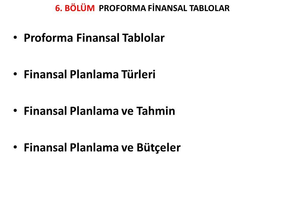 6. BÖLÜM PROFORMA FİNANSAL TABLOLAR