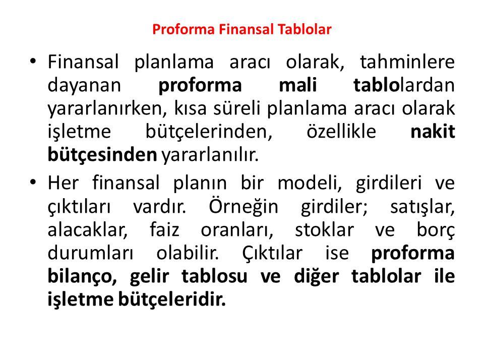 Proforma Finansal Tablolar
