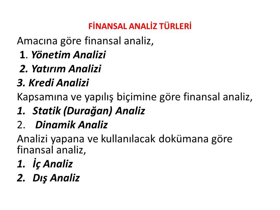 FİNANSAL ANALİZ TÜRLERİ