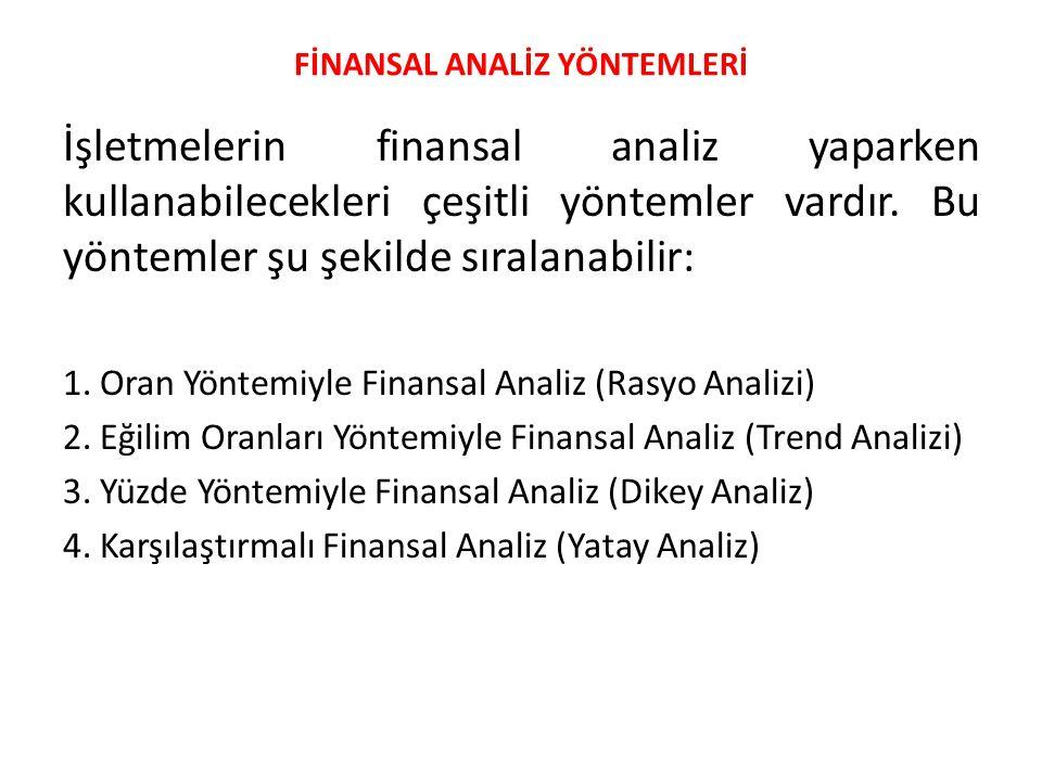 FİNANSAL ANALİZ YÖNTEMLERİ