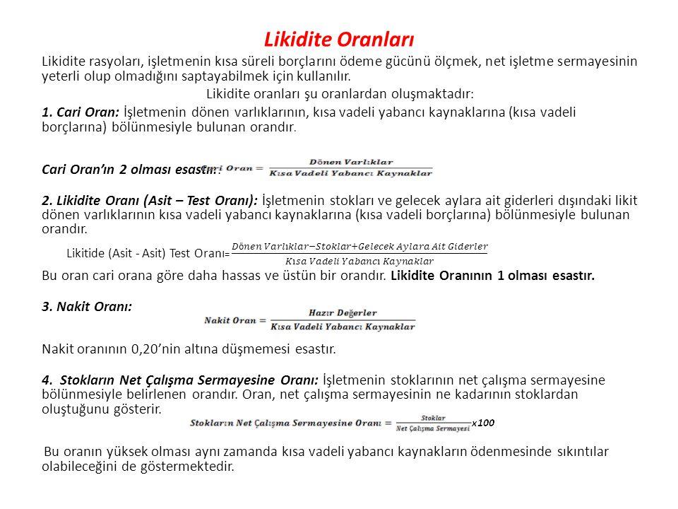 Likidite oranları şu oranlardan oluşmaktadır: