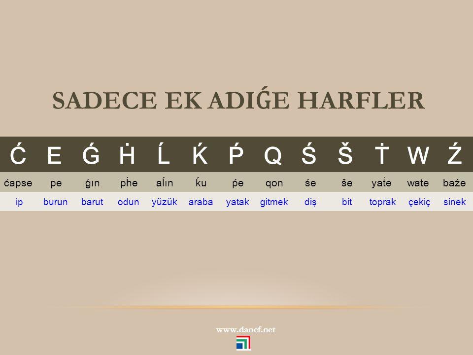 SADECE EK ADIǴE HARFLER